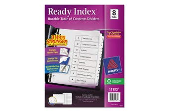 (1) - Avery Ready Index Table of Contents Dividers, Eight Tab, 1-8, Black/White, 1 Set (11132)