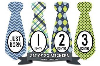 Baby Boy Monthly Necktie Milestone Stickers - 12 Month Tie Stickers - Set of 20 Stickers