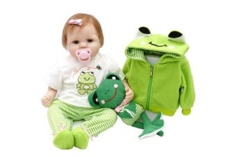 (TRAVEL FROG) - Aori Lifelike Reborn Baby Doll with Soft Body Realistic Vinyl 60cm Toy Doll with Travel Frog Gift Set
