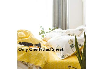 (Full/Queen(150cm  x 200cm ), Yellow Geometric) - VClife Queen Full Cotton Fitted Sheet Modern Geometric Printed Bed Sheet Boy Girl Sheet with Deep Pocket, Wrinkle, Fade, Stain Resistant, Hypoallergenic