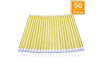 (Long, Gold) - 50 Pieces Birthday Cake Candles Thin Cake Cupcake Candles in Holders for Birthday Wedding Party Cake Decorations Supplies (Gold, Long)