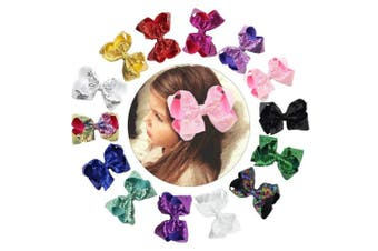 (Sequin) - CHLONG 15cm Hand-made Butique Ribbon Hair Bow Large Hair Clips for Girls Teens Kids 14pcs(Sequin)