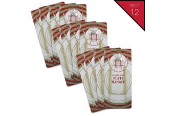 (12) - Banberry Designs Brass Vinyl Coated Plate Hanger 8 to 25cm - Set of 12 Pcs - Clear Vinyl Sleeves Protect the Plate - Hook and Nail Included