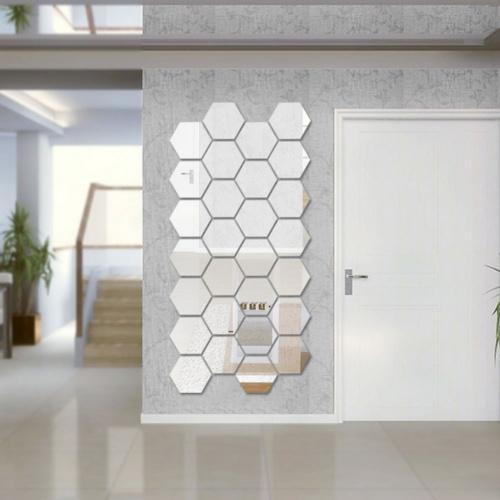 (12PCS, Silver) - Sunm Boutique Hexagon Mirror 12 PCS Geometric Hexagon Mirror Removable Hexagon Mirror Art DIY Home Decorative 3D Hexagonal Acrylic Mirror Wall Stickers for Room Decor