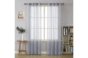 (130cm  x 210cm , Grayish Blue) - Deconovo Jacquard Diamond Pattern Linen Look Sheer Curtains Grommet Top for Living Room, 130cm x 210cm , Greyish Blue