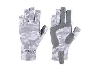 (Medium, Digital Camo, Gray) - Booms Fishing FG2 Fingerless Gloves Fishing Sun Gloves