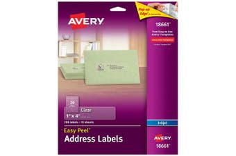 (Each) - Avery Matte Frosted Clear Address Labels for Inkjet Printers, 2.5cm x 10cm , 200 Labels (18661)