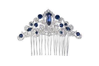 (Navy Blue) - EVER FAITH® Silver-Tone Austrian Crystal Elegant Wedding Flower Vine Hair Comb Navy Blue