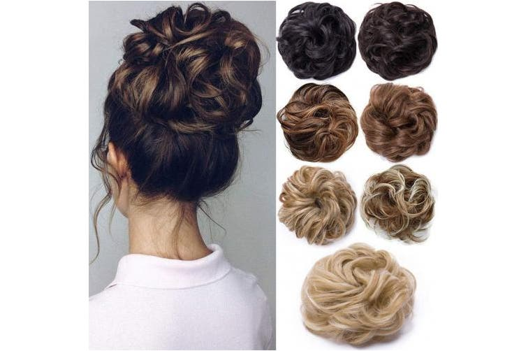 30g Light Brown To Ash Blonde Messy Hair Scrunchies Hair Bun Extensions Curly Wavy Hair Pieces