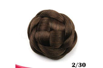 (Light Brown) - Large Size Scrunchie Synthetic Hair Chignon Bun Donut Straight Updo Braided Hairpieces Clip in Hair Bun Wedding Extensions for Afro Black Women (Light Brown)