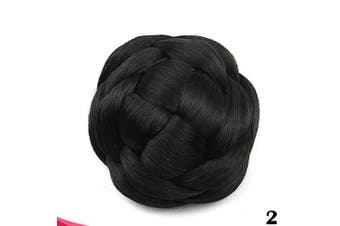 (#2 Black Brown) - Large Size Scrunchie Synthetic Hair Chignon Bun Donut Straight Updo Braided Hairpieces Clip in Hair Bun Wedding Extensions for Afro Black Women (#2 Black Brown)