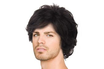 (Black Natural Curly) - Acecharming Black Wig,Fashion Men Boy Natural Curly Short Synthetic Hair Wig with Wig Cap