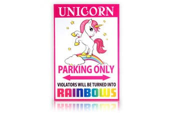 Unicorn Parking Sign | 20cm x 30cm | Danger Sign Funny Gag Gifts for window, office, bedroom decor, lockers, etc. | Corrugated Plastic | Indoor/Outdoor | Rainbow Sign Made in USA