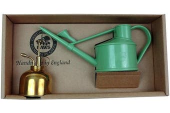 (Sage Green) - Haws Spray-n-Sprinkle Gift Box with Sage Green Watering Can and Brass Mister