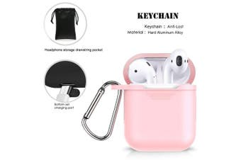 (Pink) - Airpods Accessories - Derhom Apple Airpods Silicone Case Cover   Airpods Watch Band Holder   Headphone Accessories Bag[Include Anti-lost Strap/Keychain/Ear Hooks] for Apple Airpod (Pink)