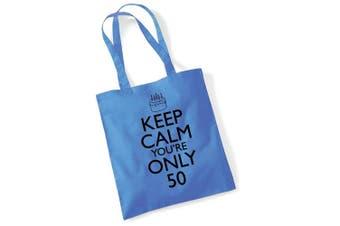 (Cblue) - Tote Bags For Women Keep Calm 50th Birthday Printed Cotton Shopper Bag Gifts