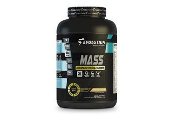 (2.7kg, Cookies & Cream) - Muscle Gainer Protein Mass Advanced by Evolution Advance. 1280 Cal, 60gr of Protein, 250gr of Carbs, 14gr of BCAA, 5gr of Creatine+Glutamine+CLA+Enzyme Blend+Vitamins. (2.7kg, Cookies & Cream)