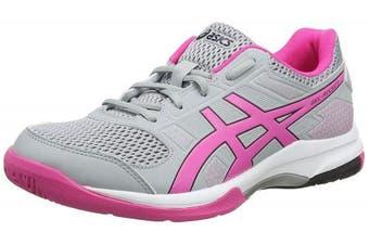 (9.5 UK, Grey (Mid Grey/Pink Glow 020)) - ASICS Women's Gel-Rocket 8 Volleyball Shoes
