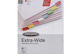(8-Tabs) - Wilson Jones Oversized Insertable Dividers, 8-Tab Set, Multicolor Tabs (W55208A)