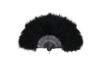 (Rib Black) - ArtiDeco 1920s Marabou Feather Fan Flapper Folding Hand Fans Feather Fan Handheld for 20s Vintage Gatsby Party (Rib Black)