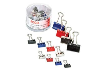 ACCO Binder Clips, Assorted Sizes, Assorted Colours, 30 Clips / Tub (A7071130)