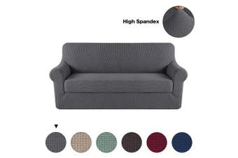 (3 Seat Sofa, Gray) - Turquoize Grey Sofa Slipcover Stretch High Spandex Sofa Cover/Lounge Covers/Couch Covers Furniture Covers for 3 Seater Cushion Cover Stretch, 2-Piece with Separated Sitting Cushion Cover (Sofa, Grey)