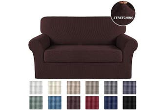 (Brown) - 2-Piece Sofa Slipcover Stretch Couch Cover Furniture Protector for Loveseat Furniture Cover, Brown Sofa Cover 2 Piece with Separate Cushion Cover Stylish Jacquard Protector (Loveseat, Brown)