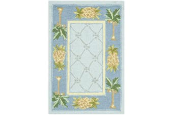 (0.3m x 0.6m, Light Blue/ Blue) - Safavieh Chelsea Collection HK362D Hand-Hooked Light Blue and Blue Premium Wool Area Rug (0.3m x 0.6m)