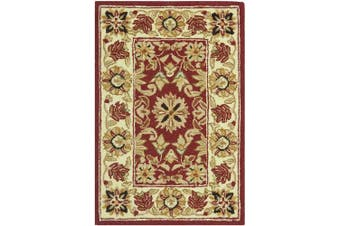 (0.3m x 0.6m, Red/ Ivory) - Safavieh Chelsea Collection HK157A Hand-Hooked Red and Ivory Premium Wool Area Rug (0.3m x 0.6m)