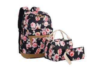 (Black-0019) - BLUBOON Teens Backpack Set Girls Women School Bags, Bookbags 3 in 1 (Black-0019)