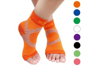 (Large/X-Large, Orange) - BLITZU Plantar Fasciitis Socks with Arch Support, Foot Care Compression Sleeve, Eases Swelling & Heel Spurs, Ankle Brace Support, Relieve Pain Fast