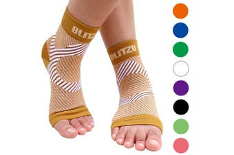 (Large/X-Large, Nude (Beige)) - BLITZU Plantar Fasciitis Socks with Arch Support, Foot Care Compression Sleeve, Eases Swelling & Heel Spurs, Ankle Brace Support, Relieve Pain Fast