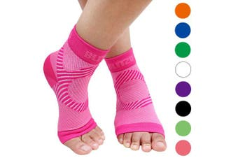 (Large/X-Large, Pink) - BLITZU Plantar Fasciitis Socks with Arch Support, Foot Care Compression Sleeve, Eases Swelling & Heel Spurs, Ankle Brace Support, Relieve Pain Fast