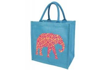 (Medium, Elephant Floral) - Jute Bag Fairtrade Shopping Bag