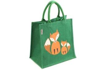 (Medium, Foxes) - Jute Bag Fairtrade Shopping Bag