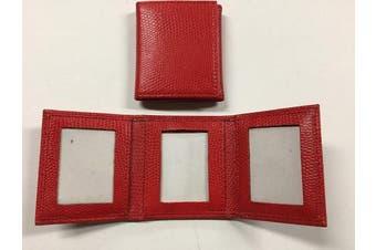 Budd Leather Lizard Grain Triple Photo Frame, Red (552210L-9)