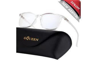 (Transparent Frame) - GQUEEN Blue Light Blocking Computer Glasses Gaming Better Sleep Anti Glare Eye Fatigue with TR90 Rectangle Frame Transparent Lens Unisex GQ318