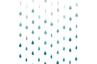 (Gradient Blue) - Cieovo 4 Set Gradual Colours Paper Raindrop Garland For Nursery decor April showers Spring Shower Raindrop Baby Shower (Gradual Blue)