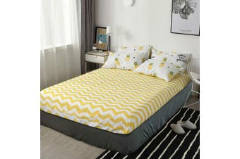(Twin, Yellow) - HIGHBUY Yellow Geometric Wave Print Fitted Sheets Twin Size 100 Percent Cotton Soft Deep Pocket Kids Bedding Cotton Sheet (1pc,Twin 90cm x 190cm )-All Around Elastic 38cm Pocket,Wrinkle Free