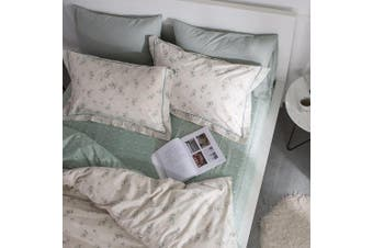 (Queen, Style-a) - HIGHBUY 100% Soft Cotton Floral Pattern Fitted Sheet Queen Size Green Flower Printed Full Bedding Deep Pocket 1 Piece Wrinkle Hypoallergenic Comfortable (Queen, Style-A)
