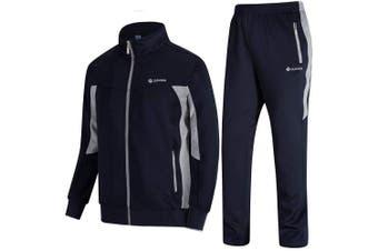 (Large, 04blue Grey) - DUNKINBO Men's Athletic Tracksuit Full Zip Warm Jogging Sweat Suits