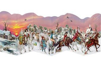 Santa on Horses - Nostalgic Leprello 3 Fold Advent Cards Traditional German - 33 cm x 12 xm Trifold and Cut Out and are with an Gold Patterned Envelope in Cello wrap