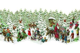 Santa and Reindeer - Nostalgic Leprello 3 Fold Advent Cards Traditional German - 33 cm x 12 xm Trifold and Cut Out and are with an Gold Patterned Envelope in Cello wrap