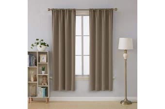 (110cm  x 180cm , Khaki) - Deconovo Solid Rod Pocket Curtain Panel Thermal Insulated Room Darkening Curtains 42W x 72L Inch Khaki 2 Panels