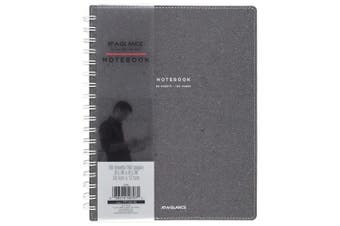 (23cm  - 1.3cm  x 18cm  - 0.6cm , Notebook) - AT-A-GLANCE Notebook, Twinwire, Ruled, 80 Sheets, 9-1/2 x 18cm - 0.6cm , Collection, Heather Grey (YP144-45)