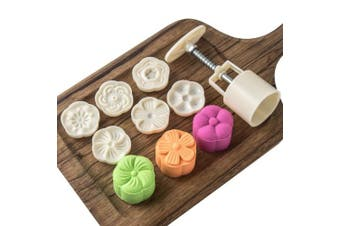 (Floral Pattern) - Moon Cake Mould with 6 Stamps Mid Autumn Festival DIY Decoration Press 50g Cookie Stamps Cake Cutter Mould Cookie Press