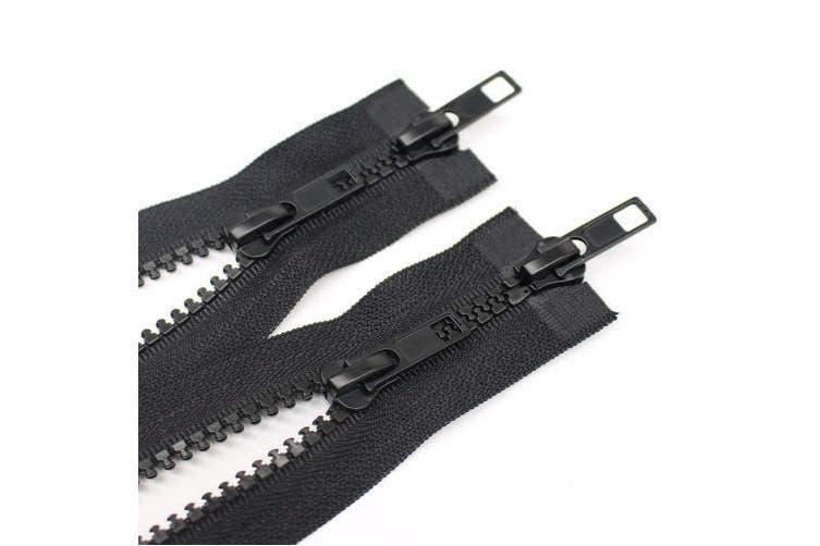 (50cm  2pcs) - YaHoGa 2PCS #5 50cm Two Way Separating Jacket Zipper for Sewing Jacket Coat Moulded Plastic Vislon Zippers Bulk (50cm TW Black)