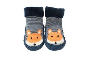 (6 - 12 Months) - Baby Boys Girls Winter Slipper Socks Anti-slip Blue Striped Fox 3-24 Months