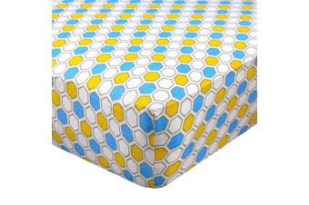 (Standard Crib - 70cm  x 130cm , Honeycomb Blue) - Abstract Fitted Crib Sheet for Standard and Full Size Cribs and Toddler Beds - 70cm x 130cm - Ultra Soft, 100% Jersey Knit Cotton - Hypoallergenic Nursery Bedding - Honeycomb Blue