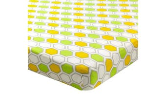 (Mini Crib - 60cm  x 100cm , Honeycomb Green) - Abstract Fitted Crib Sheet for Mini and Portable Cribs - 60cm x 100cm - Ultra Soft, 100% Jersey Knit Cotton - Hypoallergenic Nursery Bedding - Honeycomb Green